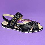 Женские кожаные черные босоножки на низком ходу, фото 2