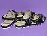 Женские кожаные черные босоножки на низком ходу, фото 4