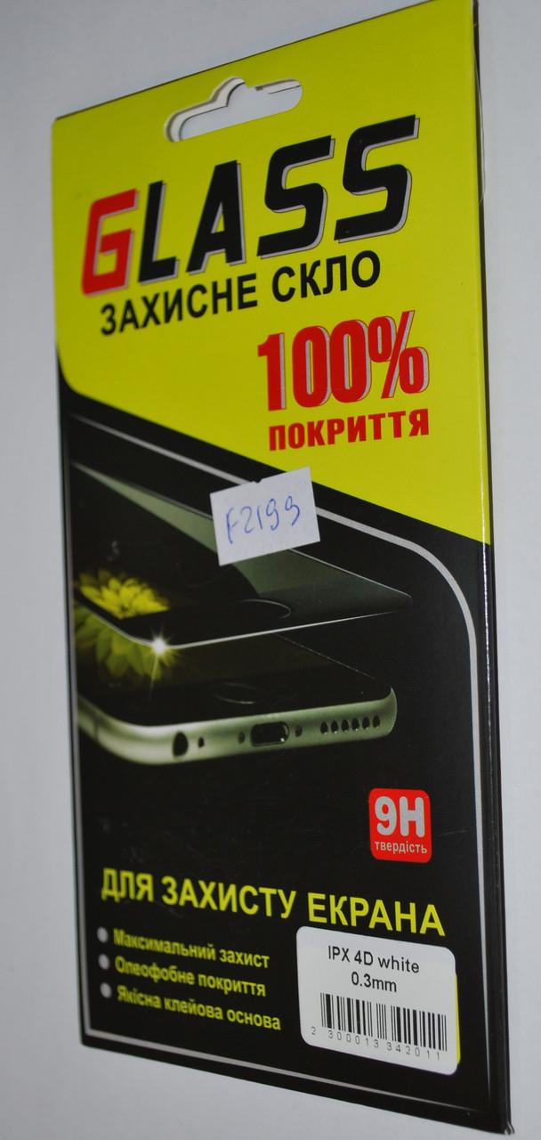 Защитное 3D стекло для IPhone X белое, F2199