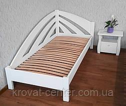 """Белая полуторная кровать """"Радуга"""". Массив - ольха, береза, дуб., фото 3"""
