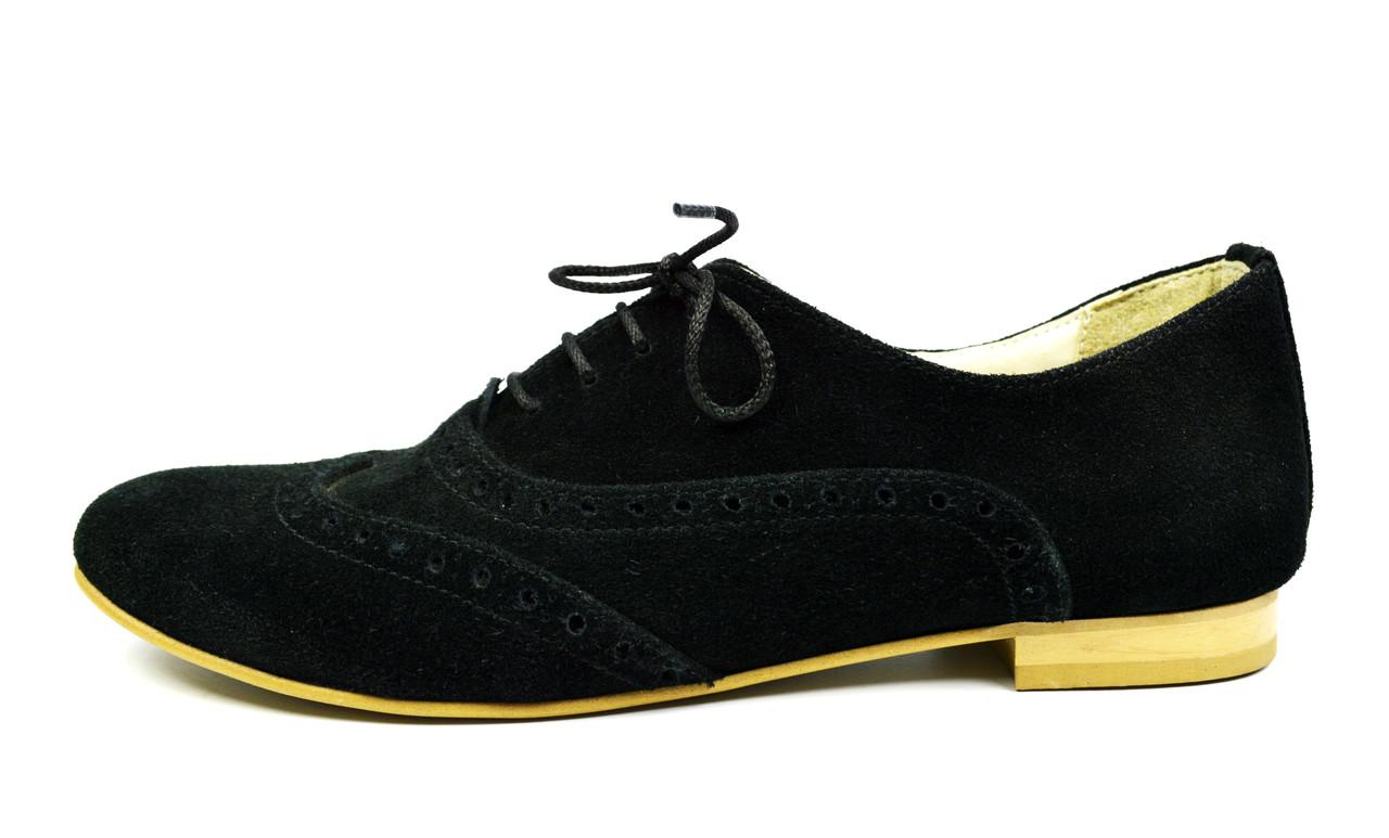 Туфли-броги черные женские замшевые Wright на низком ходу ( осень, весна, лето )