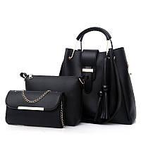Набор женских сумок 3 в 1 черный из качественной экокожи с косточками