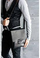 Кожаная сумка-мессенджер Алекс Графит.  Ручная работа