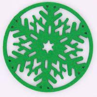 Декоративная подставка для посуды в виде снежинки 2шт Зелёный