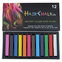 Временные мелки для волос, 12 цветов