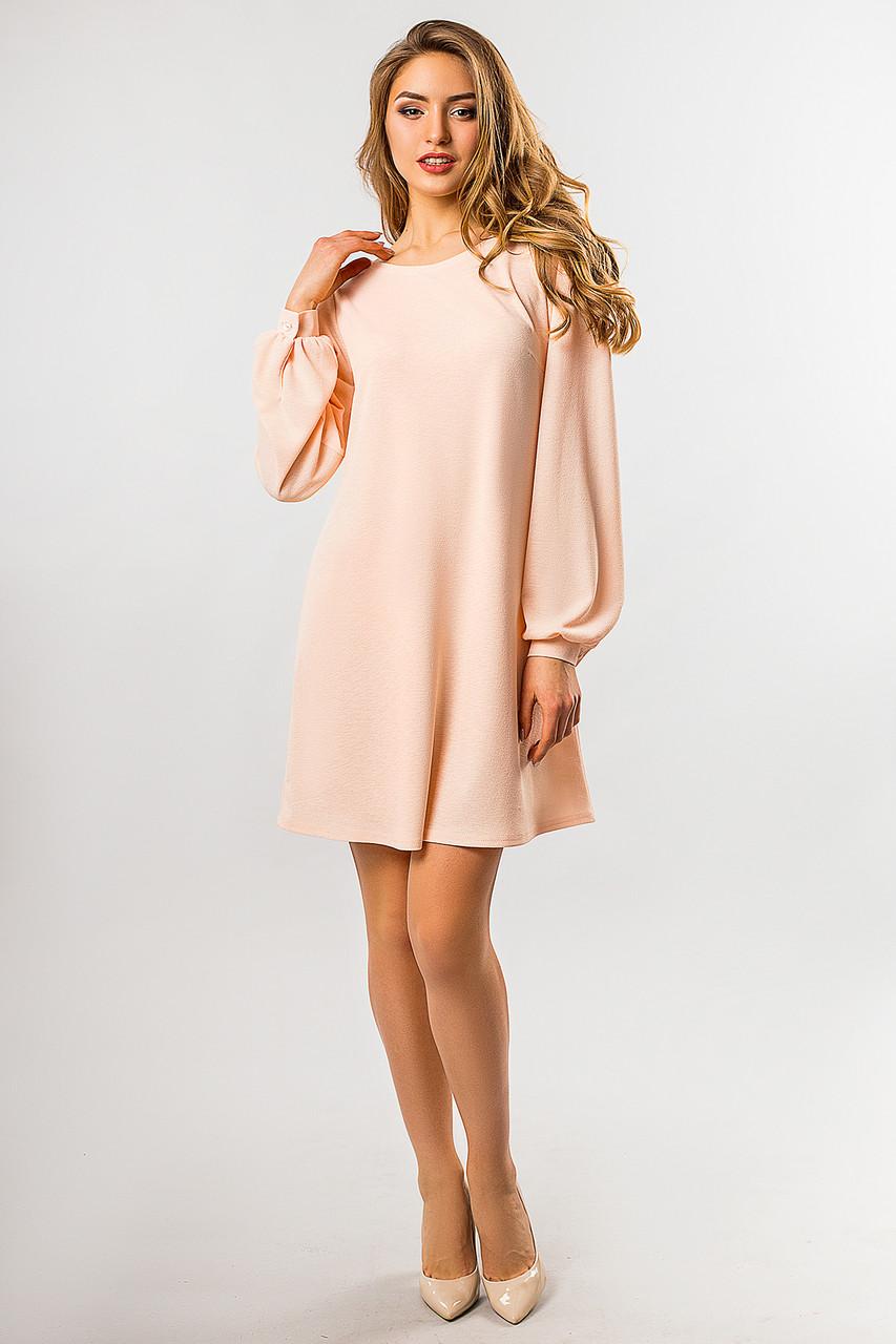 d1e5cd8eff6 Свободное платье а-силуэта с длинным рукавом со сборками на плечах  персиковое -