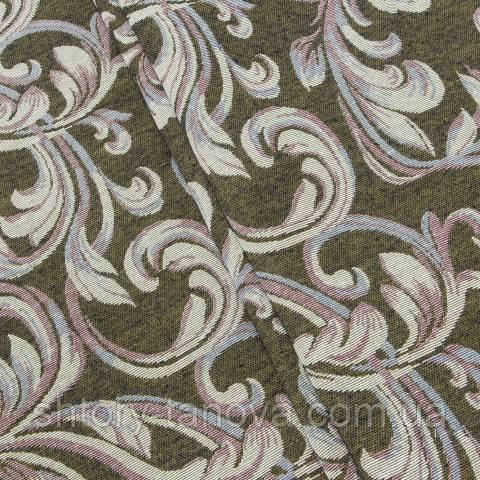 Гобелен ткань, вензель, тёмно-оливковый