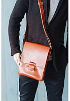 Кожаная сумка-мессенджер Алекс Коньяк. Ручная работа