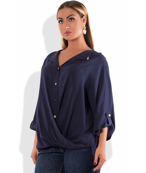 Синяя рубашка-фрак размеры от XL 3000