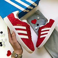 Женские кроссовки Adidas Gazelle, натуральная замша, цвет — красный