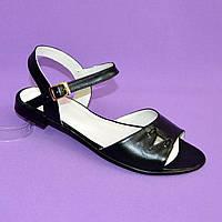 Женские кожаные черные босоножки, низкий ход., фото 1