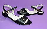 Женские кожаные черные босоножки, низкий ход., фото 4