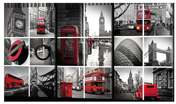 Стильная модульная картина коллаж Лондон