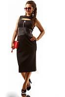 Женское черное деловое платье (р. 50-54) арт. 4209
