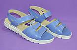 Женские босоножки на липучках из натуральной кожи голубого цвета, утолщенная подошва, фото 4
