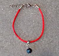 Красная нить оберег натуральный камень черный жемчуг