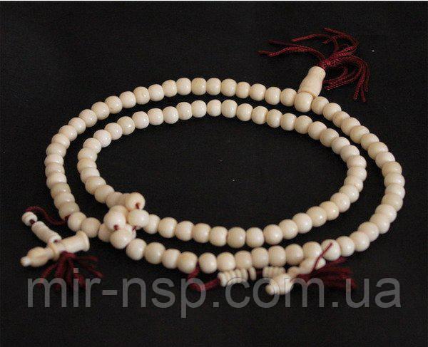 Мала четки буддийские 108 бусин из натуральной кости яка вес 67г