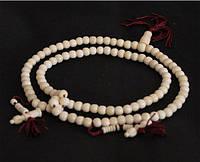 Четки буддийские 108 бусин из натуральной кости яка