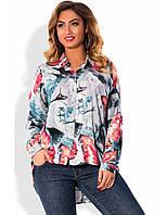 Рубашка с длинным рукавом из штапеля с узором размеры от XL 3001