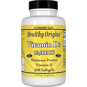 Healthy Origins, Витамин D3, 10 000 МЕ, 360 желатиновых капсул