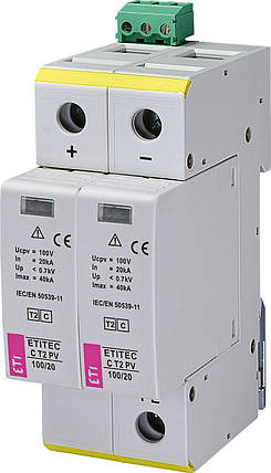 Ограничитель перенапряжения ETI ETITEC C T2 PV 100/20 (для PV систем), фото 2