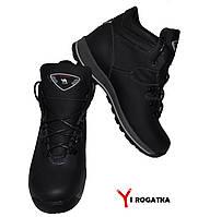 Подростковые зимние кожаные ботинки, BOTUS, Черные. Матовые