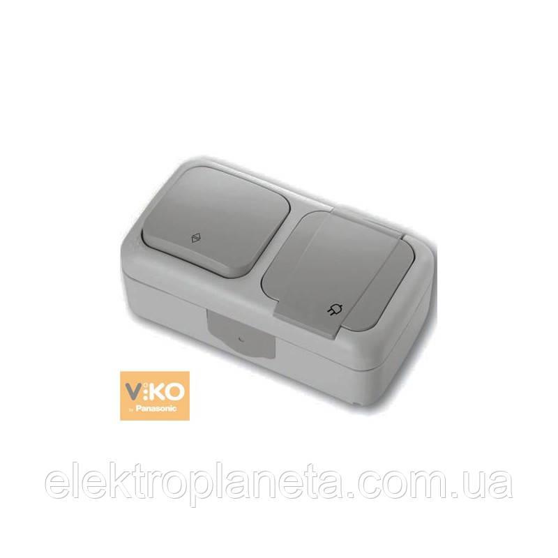Выключатель проходной + Розетка с/з  PALMIYE  IP54 (серый)