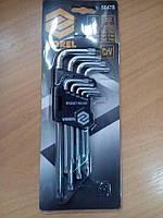 Набор ключей TORX L=образные  VOREL Cr-V, T10-T50, 9шт