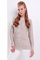 Вязаный женский свитер с манжетами и узором косичка капучино