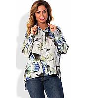 Рубашка на выпуск из штапеля с узором размеры от XL 3002