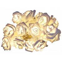 5м 40 светодиодов гирлянда из цветков розы Тёпло-белый свет