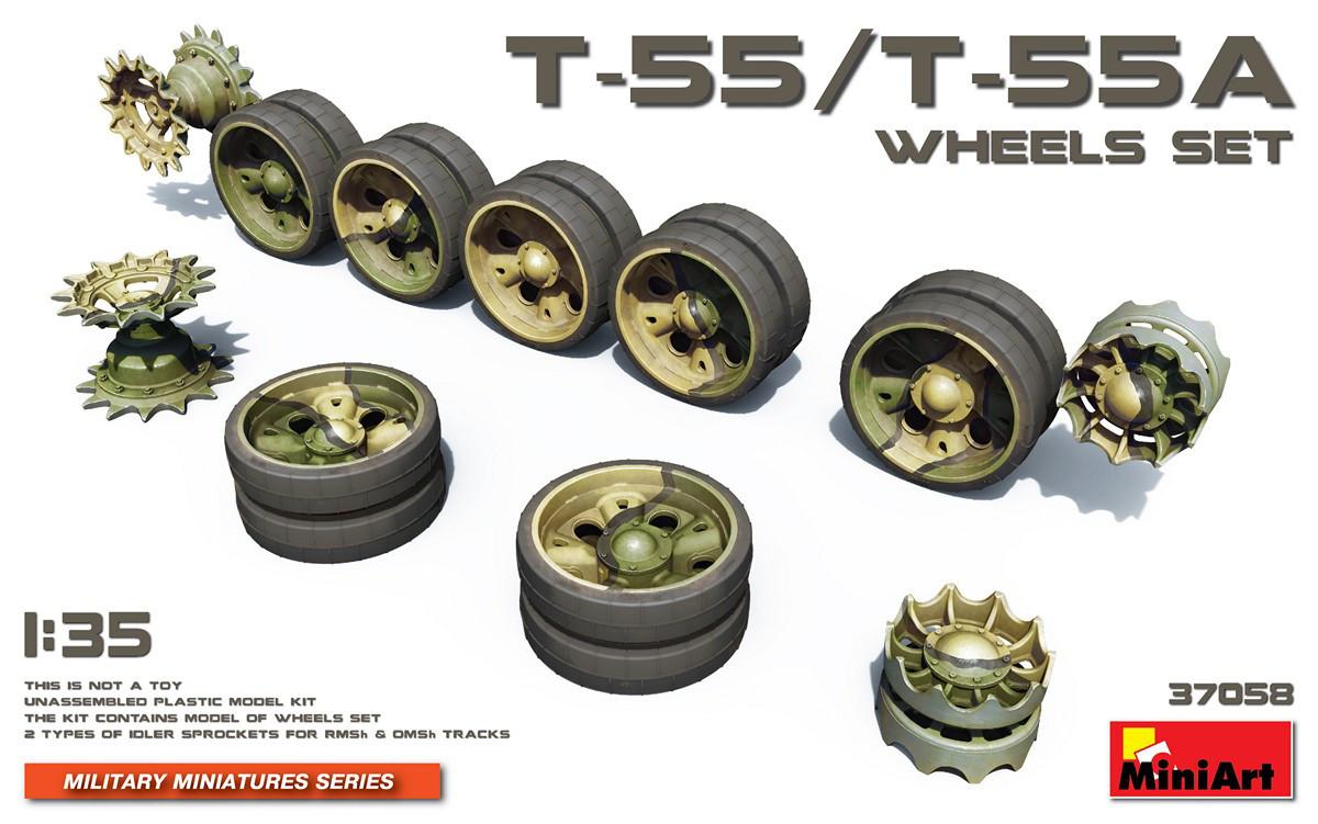 Набор катков для танков T-55/T-55A. 1/35 MINIART 37058