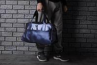Сумка спортивная из кожи искусственной найки (Nike), синяя