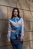 Комплект униформы джинсовый передник + рубашка комбинированн, для персонала, индивидуальный пошив, все размеры