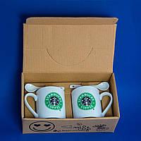 Набор кружек Starbucks (черно-зеленый рисунок, 2 шт)