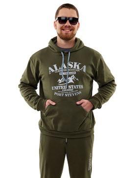 Утепленный спортивный костюм мужской с начесом хаки Alaska
