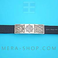 Валькирия браслет оберег из серебра и кожи