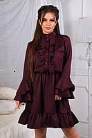 Приталенное мини платьес рюшами