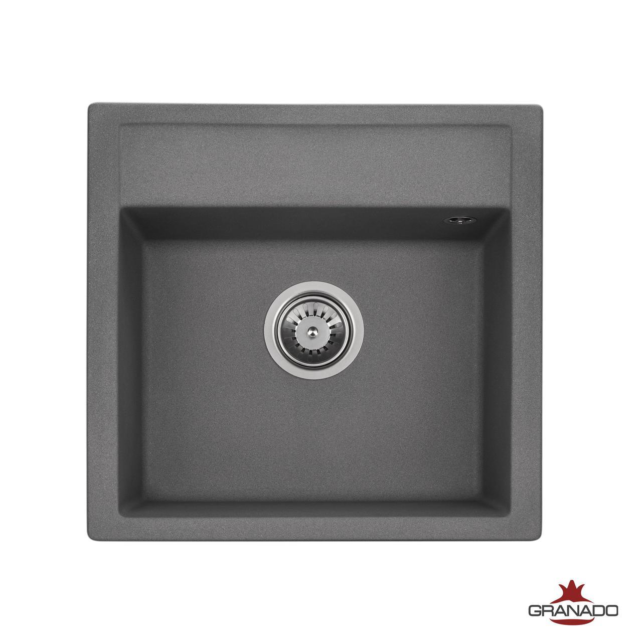 Квадратная мойка на кухню с евросифоном 50*48 см Granado Merida grafito 0309