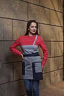 Комплект униформы серо - красный, передник + рубашка , для персонала, индивидуальный пошив, все размеры