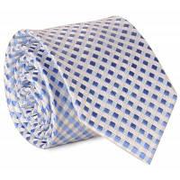 7 см Ширина галстук с мелкими Шотландка Жаккард Светло-синий