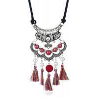 Винтажное Ожерелье С Искусственными Жемчугами И Кисточками Красный