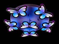 """Светодиодная люстра """"Бабочки"""" с пультом и цветной подсветкой  8067-5+1"""
