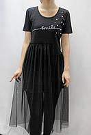 Платье миди с ассиметричной фатиновой юбкой и бусинами