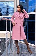 Красивое кашемировое женское пальто розовое