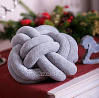 Декоративная подушка узел, серый меланж 32 см