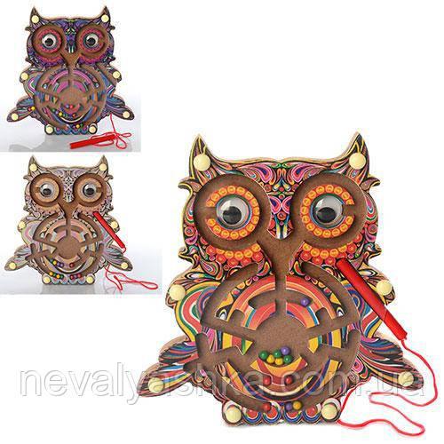 Деревянная игрушка Лабиринт Сова, MD 1011, 003081