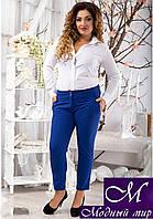 Женские укороченные брюки цвета электрик (48, 50, 52, 54, 56) арт. 10462