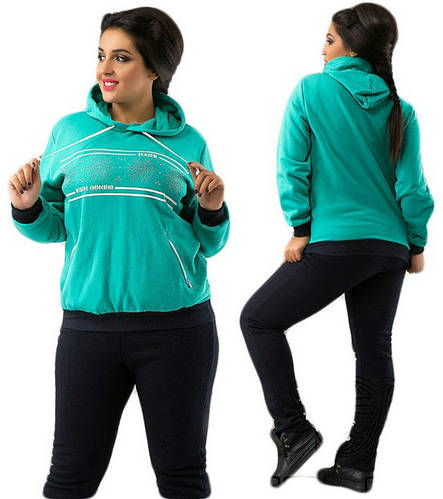 177ea8119732 Теплый зимний спортивный костюм женский с капюшоном и стразами брюки прямые  батальный