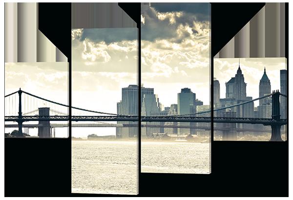 Модульная картина Мост в Нью-Йорке. Манхэттен